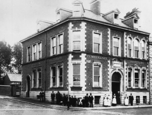 The Temperance Institute, Railway Street, beside the courthouse—home of Lisburn Suffrage Society. (Lisburn Museum).