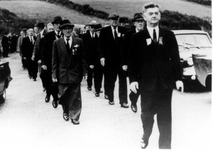 Tom Barry heads IRA survivors of the Kilmichael ambush at the site in 1966. Would they recognise it today? (Meda Ryan)