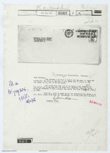 'Long live the USSR'—Behan's private letter to Miss Barbara Niven of the Daily Worker in the wake of the 1956 Soviet invasion of Hungary. (UK National Archives, Kew)