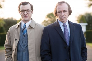 Charles J. Haughey (Aidan Gillan) and his press secretary, P.J. Mara (Tom Vaughan-Lawlor), in the forthcoming TV drama Charlie. (RTÉ)