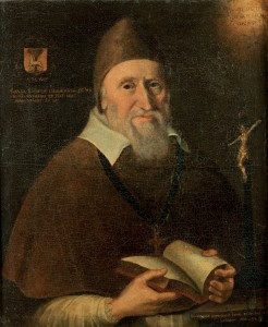 Portrait of David Rothe, bishop of Ossory, a member of the first supreme council, by an unknown artist, 1644. (Private collection)