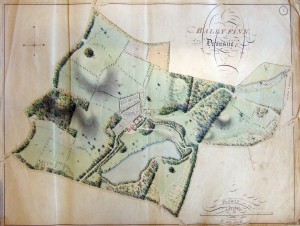 The map of Ballyfin demesne c. 1814 in the Delany Archive, Carlow College. Reference numbers shown in the detail (below): 1, Mansion house Flower Garden & Offices; 2, Farm Yard & Offices; 3, Kitchen Garden; 4, Middle Garden; 5, Melon Garden; 6, The Nursery; 7,8, Racer's park; 9, The Paddock; 10,11, Crab Lane and Plantation; 12, Crab Lane Avenue; 25, Lime kiln field; 26, Four Acre field; 43, Fox Cover Plantation; 45, Wood adjoining the Lawn & Lake; 46, Rice's field; 48, Horse park; 49, Old Turnip field plantation; 57, The Lake. Note the ice house located just south of field 49. (Brigidine Sisters)