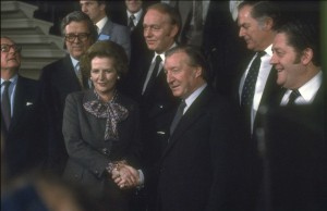 Margaret Thatcher and Charles J. Haughey shake hands at the conclusion of the Anglo-Irish summit in Dublin Castle on 8 December 1980. (RTÉ Stills Library)