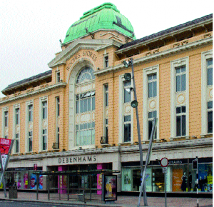 Roches Stores, Cork—the outstanding feature of the building is its copper-covered dome. (Shannon Images)