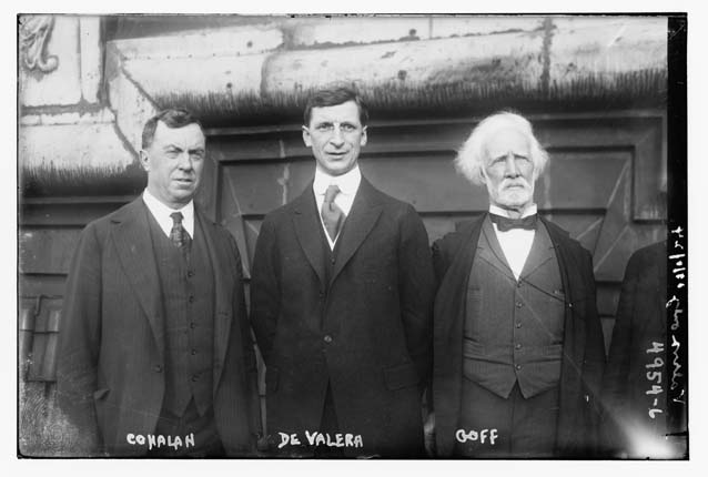 Judge Daniel Cohalan, Éamon de Valera and another member of the Friends of Irish Freedom (FOIF) leadership, Judge John Goff. Photograph taken on the roof of the Waldorf Astoria Hotel, 23 June 1919, shortly after the arrival of de Valera in the United States. (Library of Congress)