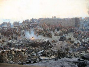 Detail from Franz Roubaud's panoramic painting The Siege of Sevastopol (1904). Such was the level of incompetence displayed by British Army officers in the Crimean War (1854–6) that parliament consequently abolished access to military commissions by privilege and replaced it with public examination.