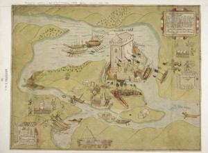 Contemporary map of Hugh Maguire's stronghold at Enniskillen, taken by the English on 2 February 1594. While it may have seemed advantageous to have a strong position in the centre of Fermanagh, the upsurge of raiding along the Ulster borderlands left the Crown's garrisons in a precarious situation. (British Library)
