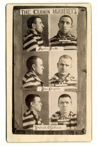 Above: Martin Burke, Detective Daniel Coughlin and iceman Patrick O'Sullivan started life sentences in January 1890 for the murder of Dr Cronin. Burke and O'Sullivan died in custody two years later of tuberculosis; Coughlin was granted a retrial in 1893 and, amid rumours of a bribed jury, was cleared of all charges and released. (Chicago History Museum