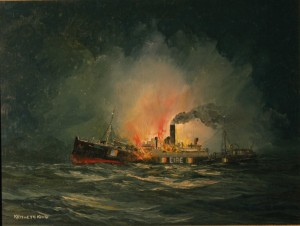 The destruction of the Kerry Head off Cape Clear in sight of watchers ashore on 22 October 1940, one of nine ships lost in that year. There were no survivors. (Kenneth King/Maritime Institute of Ireland)