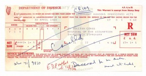 Coman's last payment of £7-1-5, dated April 1968, which was cancelled and returned to the Department of Social Welfare. (Military Service Pensions Collection)
