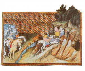 The forces of Art Mac Murchada sally forth from 'wild' mountain landscape to engage the 'disciplined' ranks of the earl of Gloucester, an earlier stereotypical image of the clash of two cultures as depicted by Jean Creton, a Frenchman who accompanied Richard II's expedition to Ireland in 1399. (British Library)