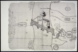 The map of the siege of Castle Maine, probably drawn shortly after Sir John Perrot's victory in August 1572. (UK National Archives, Kew)