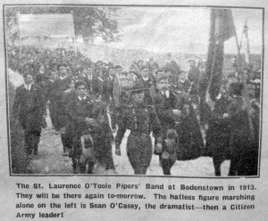 The St Laurence O'Toole Pipers' Band at Bodenstown in 1913. The hatless figure on the left is Seán O'Casey, secretary of the Wolfe Tone Memorial Committee that year. (An Phoblacht