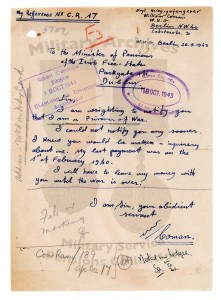 Above: 'I will have to leave my money with you until the war is over'—Coman's letter in October 1943 from Plötzensee Prison, Berlin