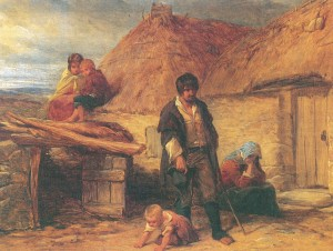 'Their huts are not like the houses of men and yet out of them troop flocks of children, healthy and fresh as roses.' Frenchman De Latocnaye's observation in the 1790s is borne out by the sturdiness of the children in this 1850 painting, An Irish Eviction, by Frederick Goodall. (Leicester Museum & Art Gallery)