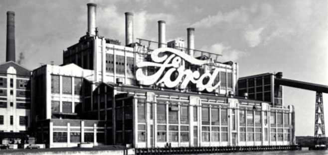 Ford's plant in Dagenham, which opened in 1931. Many workers subsequently moved there and were referred to in Cork as 'Dagenham Yanks'.