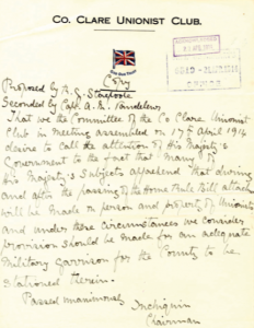 An April 1914 letter to the British government from Lord Inchiquin requesting a military garrison in County Clare in the event of Home Rule becoming law. (NAI)