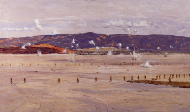 Norman Wilkinson's painting of Allied troops crossing the salt lake at Suvla Bay. On 7 August 1915, troops of the 10th (Irish) Division crossed it—under intense Turkish fire in the heat of the day and without adequate supplies of water—on the way to their successful seizure of Chocolate Hill. (Imperial War Museum