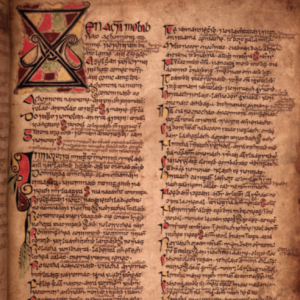 Prologue of the Feilire Oengusso from the White Earl's Book. Edmund MacRichard inherited this manuscript from his uncle, James, the 'White Earl' of Ormond, and added to it the 110 folios of his own 'Book of Pottlerath'. (Bodleian Library, Oxford)