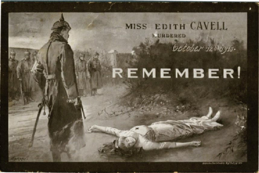 Edith Cavell was a British nurse arrested by the Germans for helping some 200 Allied soldiers escape from German-occupied Belgium during the First World War. Despite international pleas for clemency she was executed on 12 October 1915. Her execution was represented as an act of German barbarism and moral depravity, and she became an iconic propaganda figure.
