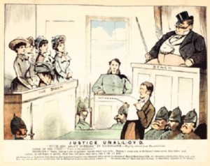 'JUSTICE UNAL(L)OYD'—a caricature of Clifford Lloyd (right) presiding over the trial of four members of the Ladies' Land League. London dispatched Lloyd to be Hennessy's right-hand man in Mauritius, but Hennessy, an ardent Home Ruler, refused to speak to him in public, let alone work with him. (Weekly Freeman supplement, 16 July 1881)