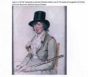 Left: Pen and ink drawing of Lady Eleanor Butler (1739–1828), sketched c. 1765. (National Library of Wales)