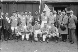 The Irish Free State soccer team that beat the USA 3–1 in a friendly match in Dalymount Park on the former's return from the 1924 Paris Olympics. This was the first FAI-selected Irish international team to play on Irish soil, three years after the birth of the association. (NLI)