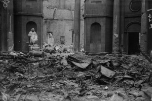 The wrecked main hall of the Four Courts. Most of the original medieval court rolls were destroyed on 30 June 1922 in the explosion there of the Public Records Office (PRO), which had been mined by its anti-Treaty IRA occupiers. The court roll featured on page 14 had been consulted by a researcher shortly before and had not yet been returned to the PRO and so escaped destruction. (NLI)