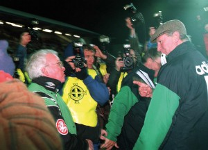 The split at its most bitter? Northern Ireland manager Billy Bingham has a frank exchange of views with his Republic of Ireland counterpart, Jack Charlton, in the tense and bitter atmosphere of the World Cup qualifier at Windsor Park in November 1993. But how had the split come about? (Inpho Photography)