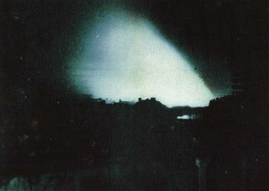 The only known photograph of the burning of Cork, taken during the night of 11/12 December 1920. For those watching from the suburbs, outside the curfew zone, the whole skyline was a shifting orange glow. (The American Commission on Conditions in Ireland: Interim Report [1921])