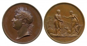 A medallion (front and back) commemorating George IV's landing at Howth in 1821. He left from Dunleary, which was con