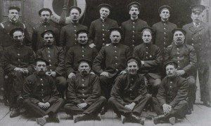 Fire chief Capt. Alfred J. Hutson (back row, left) and members of Cork Fire Brigade c. 1920.