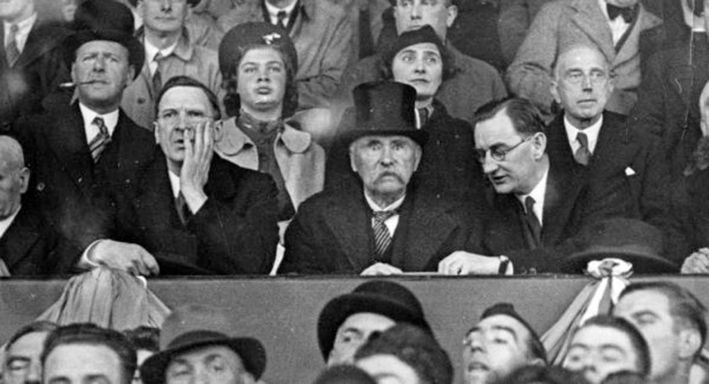 Oscar Traynor (right), with Taoiseach Éamon de Valera and President Douglas Hyde, watching the Irish Free State soccer team beat Poland 3–2 at Dalymount Park in November 1938. Applying Rule 27, the ban on 'foreign games', the GAA in the following month controversially removed Hyde as a patron of the organisation. (Getty Images)