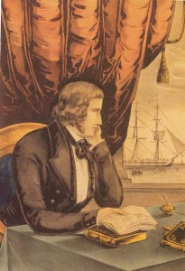 Currier and Ives image of John Mitchel in exile, contemplating a copy of his own republican newspaper, the United Irishman. When first published in February 1848 it sold out.
