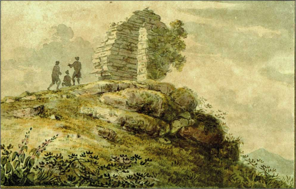 Captain Joshua Rowley Watson's water-colour sketch of the Nelson Arch that he designed and built near Castletownshend, Co. Cork, in 1805. (Mrs Sybil Venning)