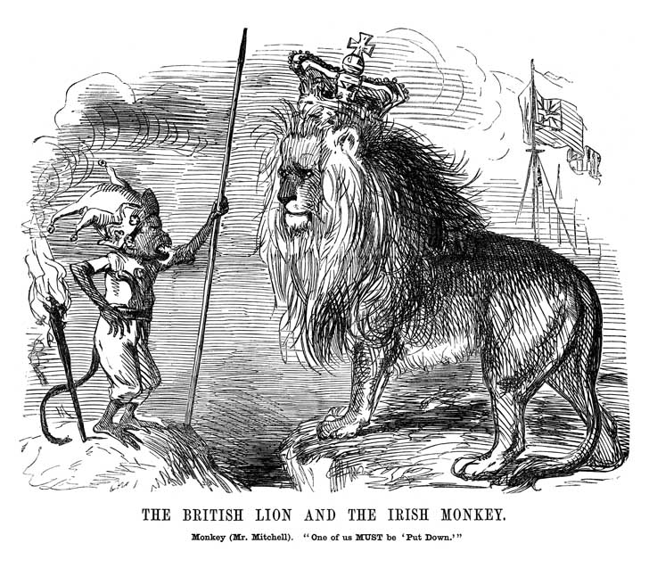 Fearful of Mitchel's power, London's Punch magazine emphasised his international standing by portraying him as an Irish monkey challenging the Great British Lion. (Punch, 8 April 1848)