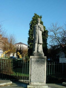 The statue of John Mitchel erected in Newry in March 1965 to commemorate both the 150th anniversary of his birth and the approaching 50th anniversary of the 1916 Rising.