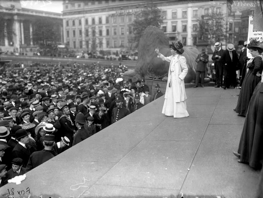 Suffragette Miss Pankhurst addressing the crowd in Trafalgar Square, London, during a rally.