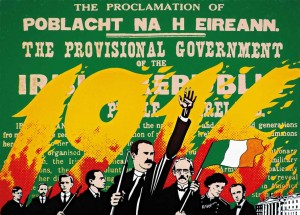 1916 Rising 75th Anniversary, The Provisional Government, by Robert Ballagh—poster commissioned for the 'Reclaim the Spirit of Easter 1916' initiative in 1991.