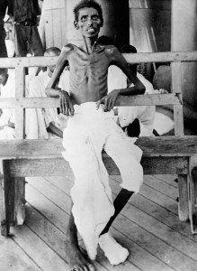 The besieged Kut garrison, two thirds of whom were Indian, surrendered on 29 April 1916. During the ensuing period of captivity in Anatolia many died from heat, disease and neglect. This emaciated sepoy was photographed after he had been liberated during an exchange of prisoners. (IWM)