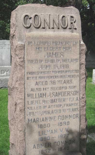 Memorial to James and William Connor, erected by their father in Mount Pleasant Cemetery, Toronto, with its reference to the 'Sinn Feiners [sic] Irish Rebels'.