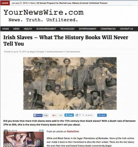 An example of a website claiming that historians avoid calling indentured servants 'slaves' for political reasons and are consumed by 'white guilt'.
