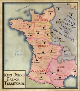Above: By the end of his reign John had lost Normandy, Brittany, Anjou and Maine.