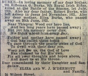 Above: The memorial notice for George Burke on the tenth anniversary of his death in the Belfast Evening Telegraph,1 July 1926—no mention of Ulster, Empire or loyalty.