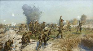 Above: James Prinsep Beadle's Battle of the Somme: Attack of the Ulster Division, 1 July 1916. (Belfast City Hall)