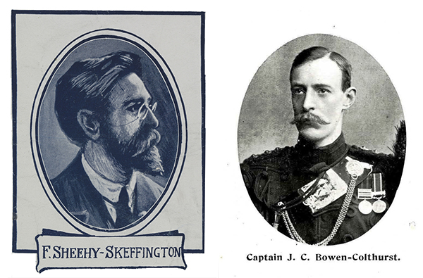Above: Francis Sheehy-Skeffington (left), the most celebrated victim of Captain J.C. Bowen-Colthurst's (right) three summary executions of 26 April 1916.