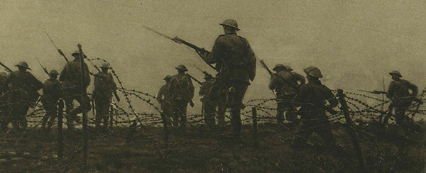 Above: British troops making their way through barbed wire entanglements. (Illustrated London News, 26 August 1916)