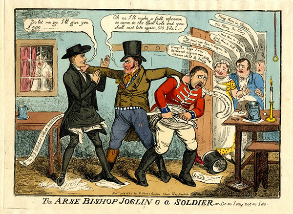 Above: Robert Cruikshank's vicious caricature of Revd Percy Jocelyn, 'the Arse Bishop' of Clogher.