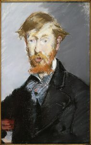 Above: Portrait of George Moore by Édouard Manet, 1879. (Metropolitan Museum of Art, NY)