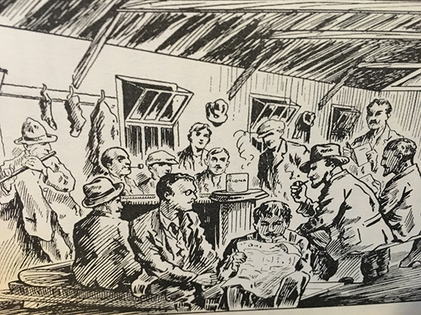 Above: Recreation inside the huts at Frongoch. (W.J. Brennan-Whitmore, With the Irish in Frongoch [1917])